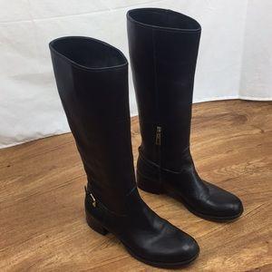 Prada Prestige Black Calf Leather High Knee Boots